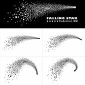 Shooting Star Trail 2d Vector Collection 2/2. Set Of Abstract Meteor With Elegantly Curved Star Trai poster