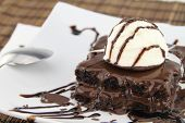 pic of brownie  - Brownie with ice cream on the dish - JPG