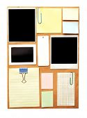 stock photo of bulletin board  - bulletin board with notes - JPG