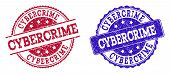 Grunge Cybercrime Seal Stamps In Blue And Red Colors. Stamps Have Distress Style. Vector Rubber Imit poster