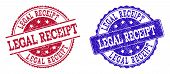 Grunge Legal Receipt Seal Stamps In Blue And Red Colors. Stamps Have Draft Style. Vector Rubber Imit poster