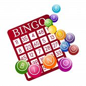 Bingo Card Gambling Recreation Activity Luck Balls Illustration poster