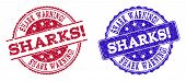 Grunge Shark Warning Seal Stamps In Blue And Red Colors. Stamps Have Distress Style. Vector Rubber I poster