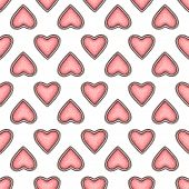 Seamless Pattern, Handdrawn Pink Blush In The Shape Of A Heart poster