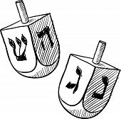 picture of dreidel  - Doodle style Jewish dreidel or draydl vector illustration - JPG