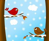 stock photo of cardinal  - Christmas Red Cardinal Bird Pair Sitting on Tree Branches Winter Scene Illustration - JPG