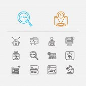 Engine Icons Set. Website Optimization And Engine Icons With Tags, Targeting And Launch. Set Of Dire poster