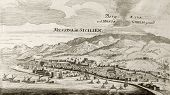 Old map of Messina, Sicily, with Etna volcano in background. The original engraving was created by G