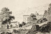 Antique illustration of Chapel St. Rosalie, the patron saint of Palermo, Italy. Original engraving w