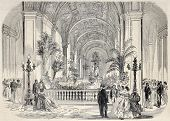 Antique illustrtation of tropical garden at Hotel de Ville interior, Paris. Original, from drawing o