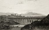 pic of pilaster  - Old illustration of an aqueduct near Palermo - JPG