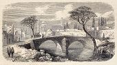 Antique illustration of a bridge in a public garden (meidan) in Tabriz, Persia. Original was engrave