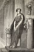Elizabeth Rachel Felix, famous French actress known as Madamoiselle Rachel. From drawing of Marc, after peinture of J. L. Gerome, published on L'Illustration, Journal Universel, Paris, 1860 poster