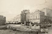 Old print of Porta Felice, Palermo, Italy. Original drawn by W. L. Leitch, engraved by R. Sands. Pub