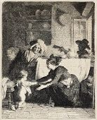 Antique illustration of Italian family in a domestic scene. Original, from a drawing of Van Muyden, was published on L'Illustration, Journal Universel, Paris, 1860 poster