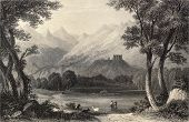 foto of luigi  - Antique illustration shows landscape in Aosta Valley - JPG