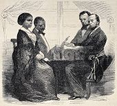 Antique illustration shows black wedding by family status authorities in Reunion Island. Original en