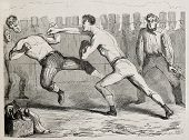 Antique humorous illustration of a straight right paunch during a boxing match. Original, by Benassi