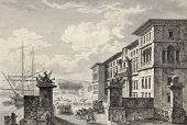 View of Messina royal palace, then destroyed by earthquake. By Berthault and De Ghendt, published on