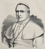 Antique engraved portrait of pope Pius IX. Original, from drawing of Hofer, was published on L'Illus