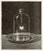 Antique illustration of iron combustion in pure oxygen. Original, from unknown author, was published