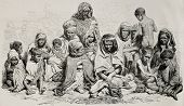 Antique illustration of poor and needy people in Algeria. Created by Janet-Lange and Cosson-Smeeton