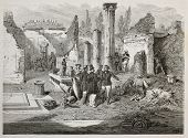 Old illustration of Director Giuseppe Fiorelli supervising Pompei excavation. Created by Bayard, aft