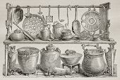 Old illustration of bronze pottery and kitchen utensils found in Pompeii. Created by Catenacci, publ