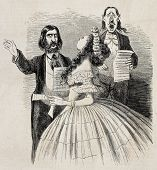 Antique caricatural illustration of singers trio. Original, from drawing of Carlo Gripp, was publish