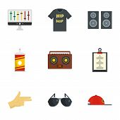 Gangsta Rap Icon Set. Flat Set Of 9 Gangsta Rap Icons For Web Design poster