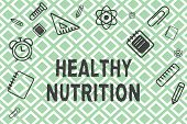 Handwriting Text Healthy Nutrition. Concept Meaning Eating A Healthy And Nutritional Food Balanced D poster