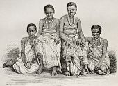 Old illustration of Ugandan women. By unidentified author after photo of Royer, published on Le Tour