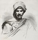 Old engraved portrait of a Bedouin. Created by Pottin after sketch of Bida, published on Le Tour du