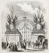 picture of lamar  - Old illustration of an arched decoration celebrating Napoleon III arrival in Metz - JPG