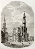Old illustration of Katholische Hofkirche in Dresden, the Catholic Church of the Royal court of Saxo