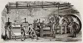 Old illustration of iron production in La Houilles foundry, France: rolling mills line moved by hydr