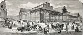 Old illustration of covered marketplace built in Paris. Created by Provost, published on L'Illustrat