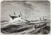 Old illustration of SS Central America shipwreck while off Carolinas coast. Created by Berard, publi