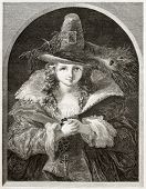Old illustration of girl wearing brigand hat. Created by Anelay after picture of Uwins kept in Londo