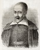 Old engraved portrait of Pierre Charron, French Catholic theologian and philosopher. By unidentified
