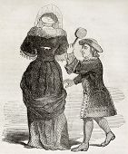 stock photo of spanking  - Old illustration of man spanking woman in carnival masquerade - JPG