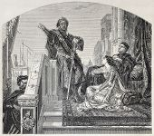 Old illustration of Othello telling his battles. Created by Cabanel, published on L'Illustration, Jo