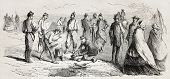 Old illustration of soldiers cooking in bivouac. Created by Quesnoy, published on L'Illustration, Jo