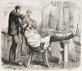 American way of life: old illustration of a barber shop. Created by Job, published on L'Illustration