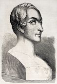 picture of passy  - Old illustration of a bust representing Pierre Marie Francois de Salles Baillot - JPG