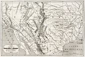 stock photo of bonaparte  - Old map of northern Mexico and south - JPG