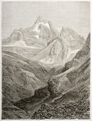 Monviso old view, Italy. Created by Sabatier, published on Le Tour du Monde, Paris, 1860