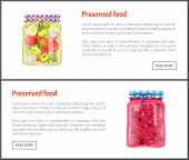 Preserved Food Posters Set With Products In Jars. Conserved Cucumbers And Tomatoes With Dill Onion A poster