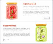 Preserved Food Tomatoes Set Of Posters With Text Sample. Jars With Pickles Cucumbers Onion Slices An poster