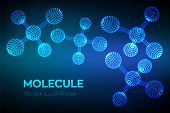 Molecule Structure. Dna, Atom, Neurons. Molecules And Chemical Formulas. 3d Scientific Molecule Back poster